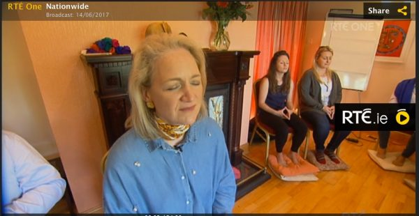 Screen Shot of Calodagh teaching her meditation class from the RTE Tv Show 'Nationwide' • Broadcast: Wed 14 Jun 2017